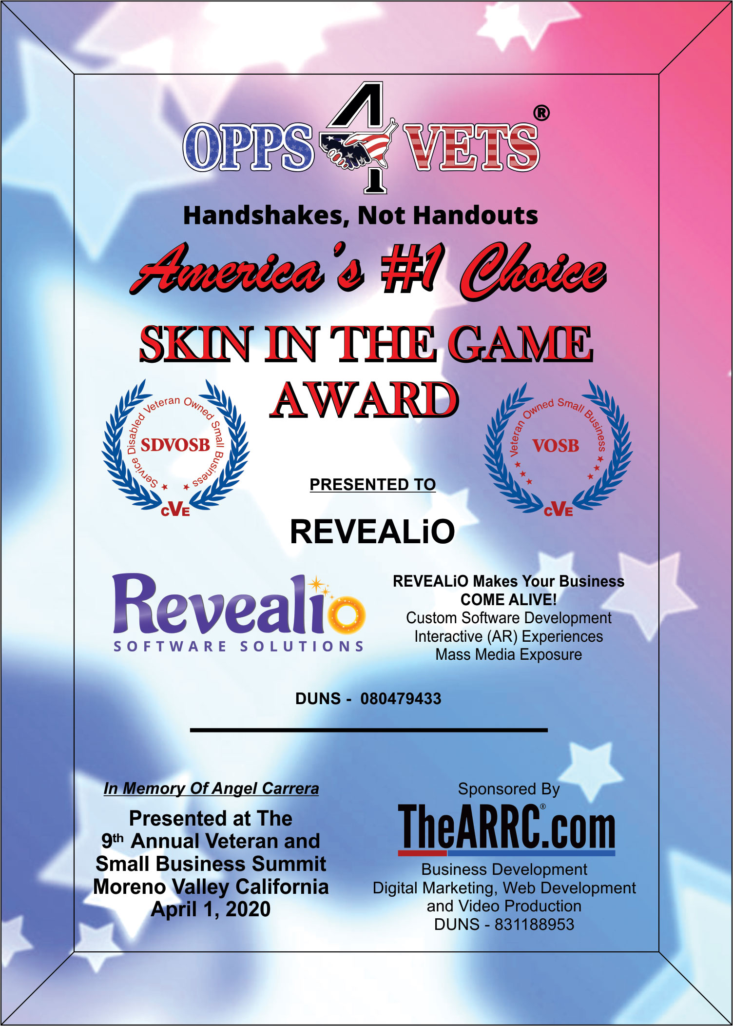 2020 9th Annual Skin In The Game Award for REVEALiO Inc.