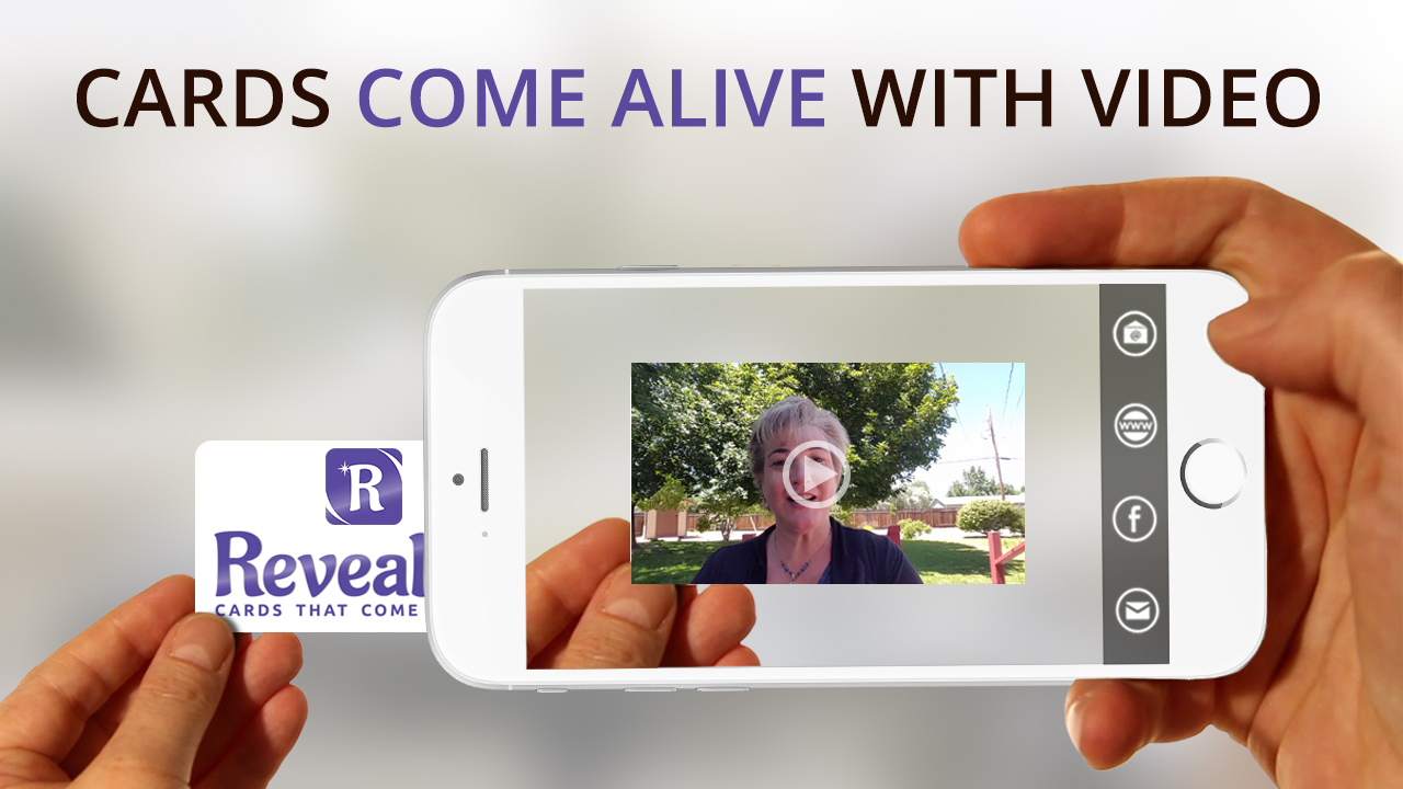 business card comes alive with video using the REVEALiO app