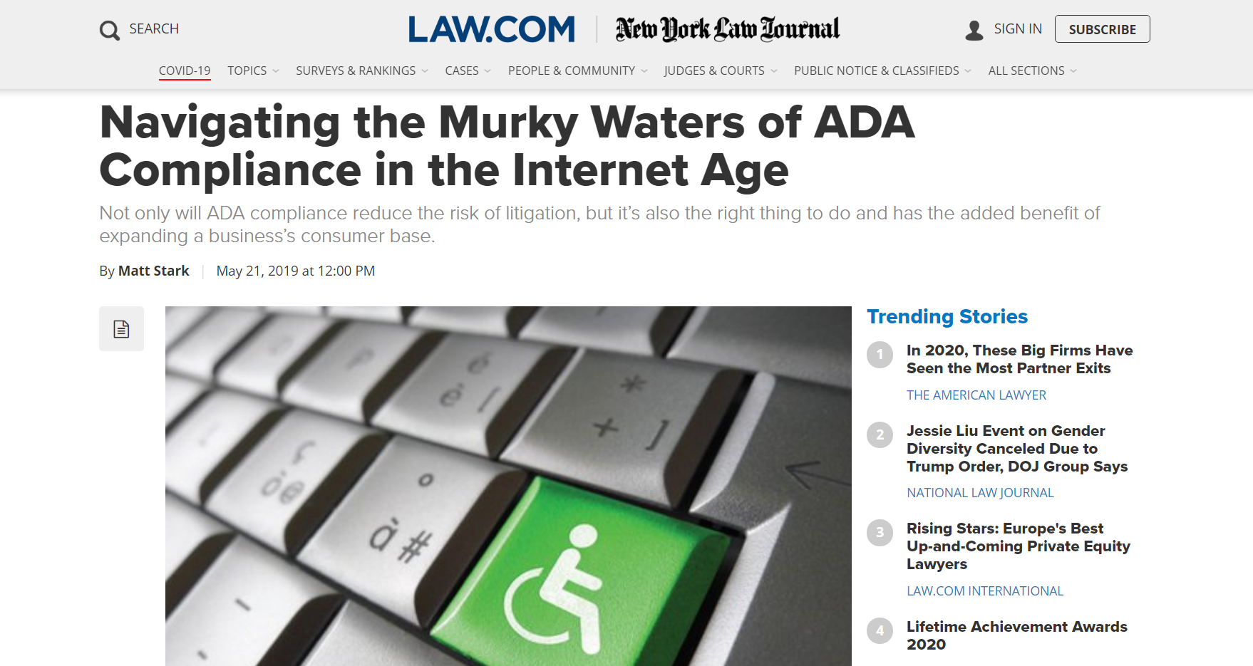 image of an article from law.com that talks about the need for ADA compliance on websites