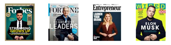 National Magazine Covers like Forbes, Fortune, Entrepreneur and Wired
