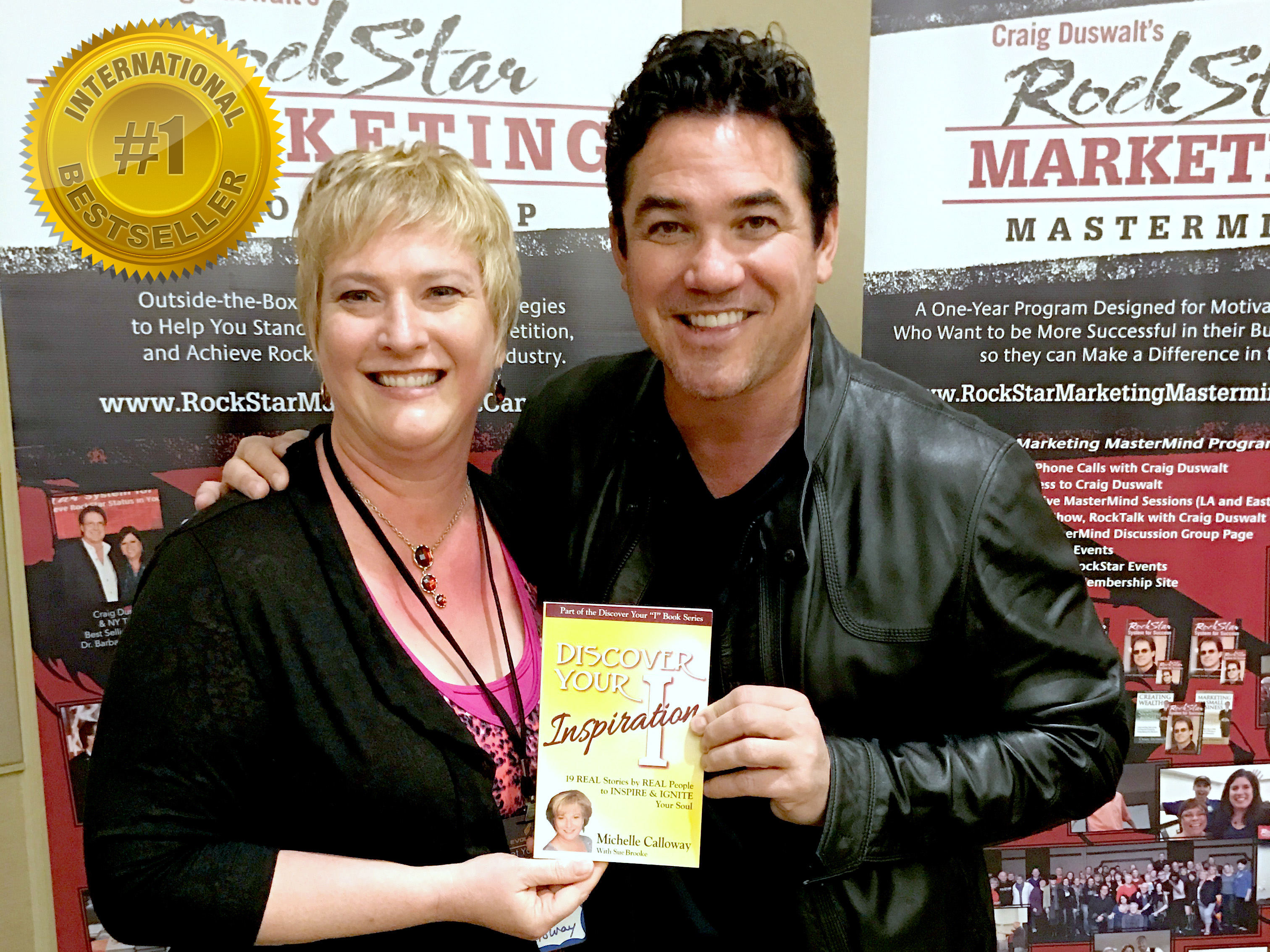 Michelle Calloway pic w Dean Cain promoting her book Discover Your Inspiration