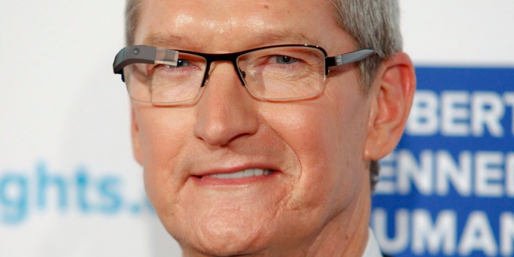 Tim Cook wearing AR glasses