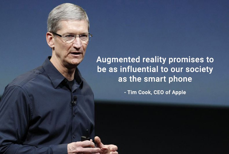 Image of Tim Cook, CEO of Apple with quote text saying, augmented reality promises to be as influential to our society as the smart phone