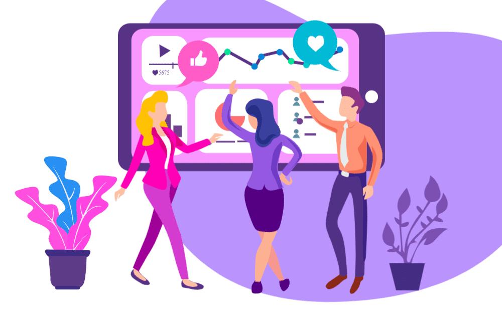 Social Media Team managing business